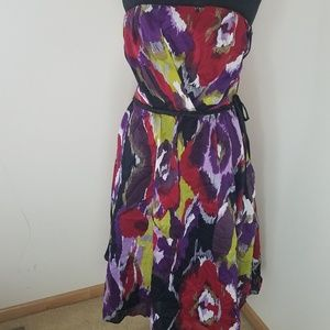 The Limited Multicoloured Belted Strapless Dress